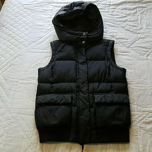 Black Puffer Vest with Removable Hood